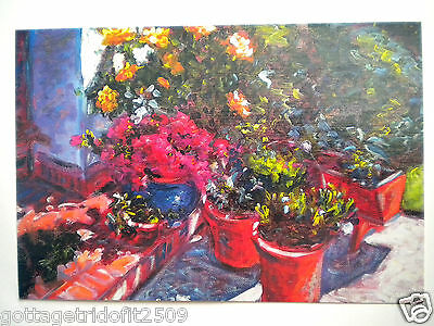 """""""FLOWERS AT STEPS"""" GREETING CARD ~ Mouth Painted ~ Keith Jansz ~ #22/1E"""