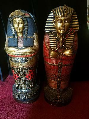 LOT 2 Egyptian Sarcophagus CD Cabinet Holder - King Tut & Queen - 26 inches Tall