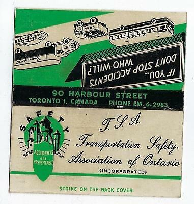 Vintage T.l.a. Transportation Safety Assoc. Of Ontario Toronto Matchcover
