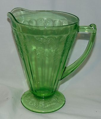 """Jeannette CHERRY BLOSSOM GREEN *7 3/4"""" 36 oz FOOTED PITCHER*"""