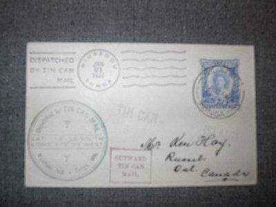 1937 Tonga Cover - Tin Can Mail - Russell, Ontario, Canada