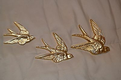Set of 3 Diff.Sizes Vintage Burwood Gold/Brass Syroco Birds in Flight Wall Decor