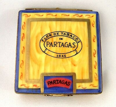 Limoges Box  Partagas 1845 Cigar Box With Cigars Inside - Tobacco - Peint Main