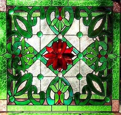 HERITAGE STAINED GLASS LEADLIGHT FRONT DOOR / WINDOW Hand Crafted RED & GREEN