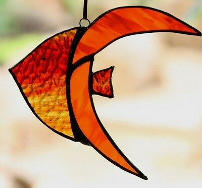 AMBER ORANGE ANGEL FISH Ocean STAINED GLASS CRAFTED SUNCATCHER Ready To Hang