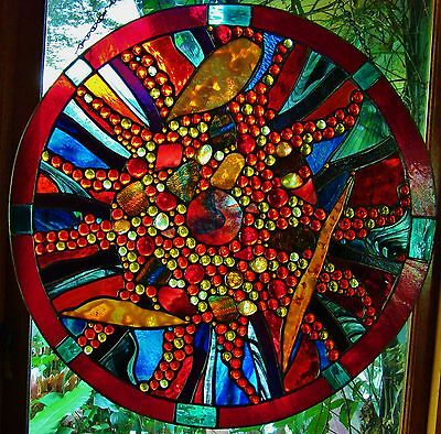 ABSTRACT STAINED GLASS DISK 'LIGHT ECHO' WINDOW DOOR leadlight SUSPENDED WORKS