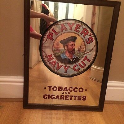 GENUINE ANTIQUE 1920s PLAYERS CIGARETTE TOBACCO ADVERTISING  MIRROR not BASS