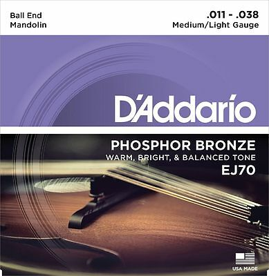 D'Addario EJ70 Phosphor Bronze Mandolin Strings Medium/Light Gauge Ball End
