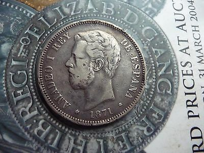 SPAIN, AMADEO I, 5 PESETAS, 1871 .900 SILVER COIN DECENT GRADE a bit edgy