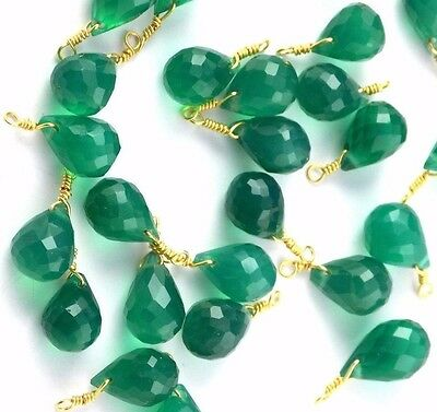 A+ 10 Pcs Natural Green Onyx Tear Faceted Wire Wrapped Loose Link Gemstone Beads