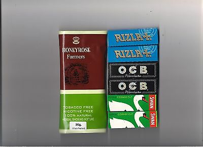 Honeyrose Farmers Herbal Smoking Mix Tobacco Free, Rolling Papers Swan OCB Rizla