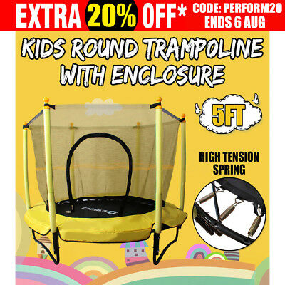 Kids Junior Round Trampoline With Enclosure Safety Net Spring Mat Exercise 5FT