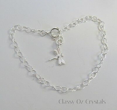 Sterling Silver Baby Children's Bracelet / Anklet w Dragonfly Charm