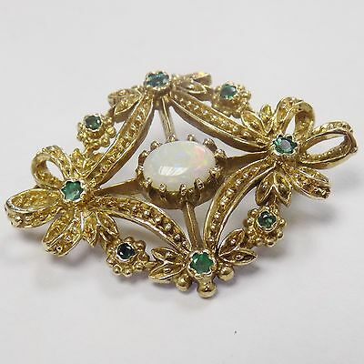9ct Solid Gold Brooch With Opal & Emerald Heavy 6.45g Vintage Style