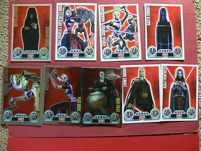 Topps Force Attax Star Wars Trading Cards. Blue. 9 Sith Cards. 4 Foils.
