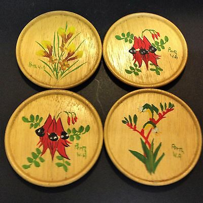 Old 70's Vintage - 4 x Wood Drink Coasters - Wildflowers Perth W.A. Souvenir