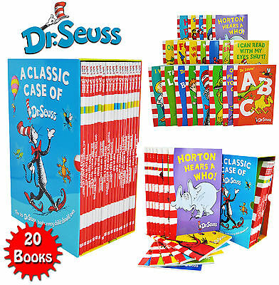 A Classic Case of Dr. Seuss 20 Books Box Set Pack Collection Includes Lorax NE