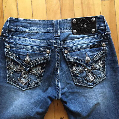 MISS ME Jeans Stretch Boot Cut Studded Cross Size 26 Low JP5817B2  Distressed