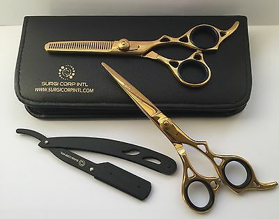 "6"" Professional Hairdressing Scissors Barber Salon Haircutting Shears Gold Set"