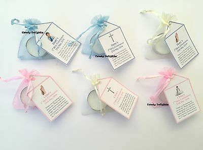 30 x 1st Holy Communion DIY Organza bag, Candle & Personalised Tag Favours