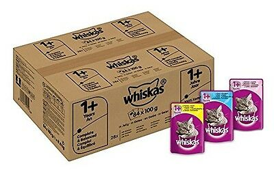 84x Whiskas Wet Cat Food Adult Mixed Selection in Jelly - FREE FAST SHIPPING