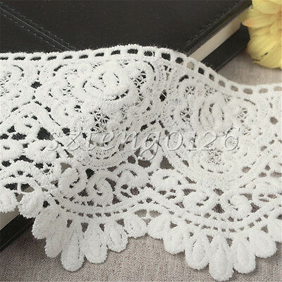90mm Wide Vintage White Cotton Crochet Lace Edge Trim Ribbon Dress Sewing Craft