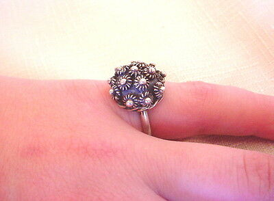 Unique Vintage MEXICAN Sterling Silver CANNETILLE Dome Ladies RING 4.5 g. ESTATE