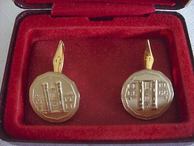 Vintage Mens ROYAL CANADIAN MINT Goldtone Folding CUFFLINKS Case Souvenir
