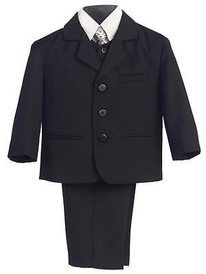 Boys Black Formal Suit 5 Piece Baby Toddler Husky Size 6M-20H