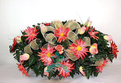 Beautiful XL Coral Dahlias and Roses Flower Tombstone Headstone Saddle