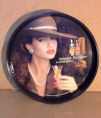 Antiqu Hallelujah.The Liqueur to drink after.Tin round serving tray/wall hanging