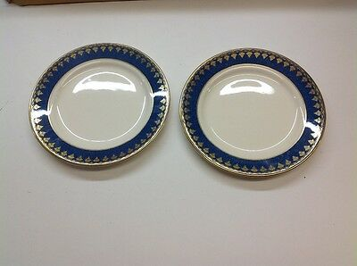 George Jones & Sons crescent blue and gold plates