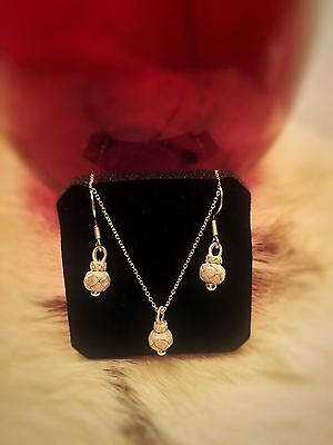 Hand-made, Ancient Kazaziye Style Set of Silver Necklace and Earrings