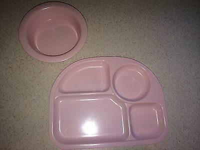 Sectional Plate And Bowl POTTERY BARN KIDS melamine Pastel Pink