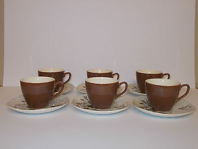 6 x Vintage J & G Meakin Sol Small Espresso Coffee Cups and Saucers Lovely