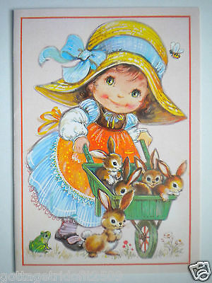 A Sunshine Card ~ Bright Eyes ~ VINTAGE LITTLE GIRL WITH BUNNIES GREETING CARD