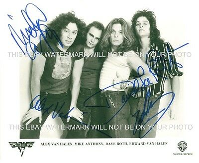 VAN HALEN WITH DAVID LEE ROTH AUTOGRAPHED 8x10 RP PHOTO INCREDIBLE CLASSIC BAND