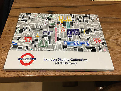 Brand New and Sealed London Underground Skyline Set of 4 Placemats Cork Gift