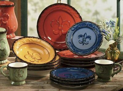 Hand Painted Dinnerware set Tuscany Dishes Unique Plates Colorful 16 pc Bowls & HAND PAINTED DINNERWARE set Tuscany Dishes Unique Plates Colorful 16 ...