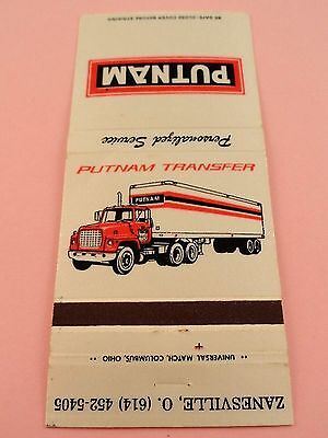 Matchbook Cover ~ PUTNAM TRANSFER Zanesville OH Common Carrier Rear Strike 30 UN