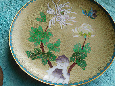 """Vtg.Chinese Brass Cloisonne Plate Turquoise Green w/ Lotus Flower Butterfly ~6"""""""