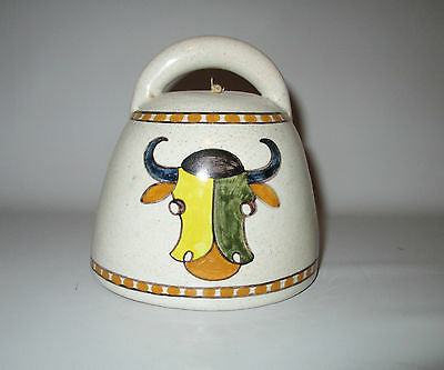 Spanish Talavera Bell La Menora Cow Bull Signed Green Yellow Spain Espana