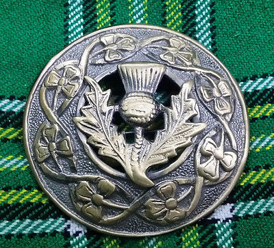 """Men's Fly Plaid Brooch Thistle Crest Antique Finish 3""""/Scottish Thistle Brooches"""