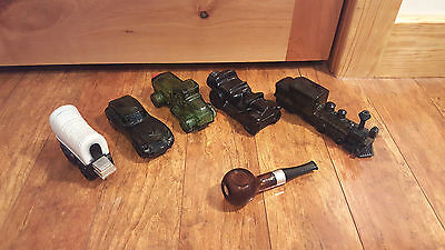 Lot of 6 vintage AVON cologne/purfume collectibles Wagon Cars Trucks Trains Pipe