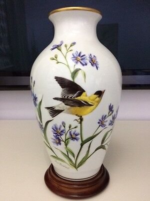 Limited Edition Goldfinch of Autumn Porcelain Vase - Perfect Condition