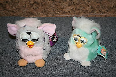 LOT-2 Tiger Furby 90-940 & 70-800 1998 & 1999 W/Tags Electronic Interactive