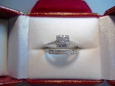 Diamond Engagement Ring with Wedding band 14K White Gold