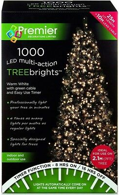 premier 1000 led multi action treebrights christmas tree lights timer warm white