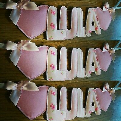 Personalised handmade fabric padded lettered girls name bunting, banner, garland