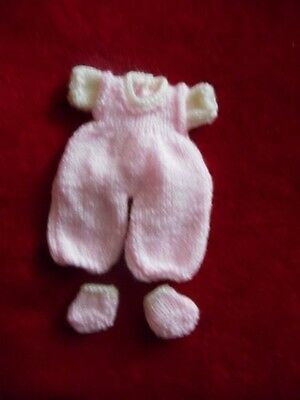 Doll Clothes pink Hand knitted romper  Set for ooak 6in to 7""